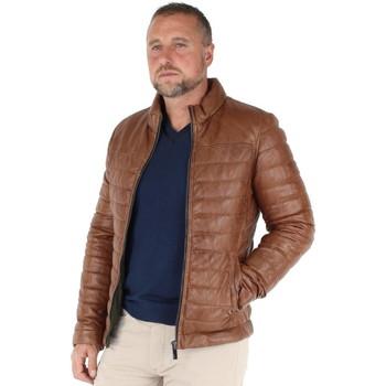 Vêtements Homme Doudounes Oakwood Blouson  Footlose en cuir ref_cco41613-cognac Marron