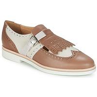 Chaussures Femme Derbies Geox JANALEE B Sable / Blanc