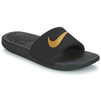 Chaussures Garçon Claquettes Nike KAWA GROUNDSCHOOL SLIDE Noir / Doré