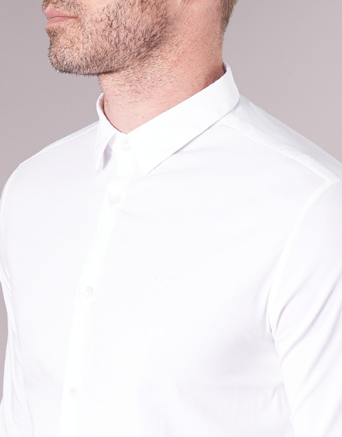 Emporio Armani Longues Blanc Manches Bewo Homme Chemises mN0v8wn