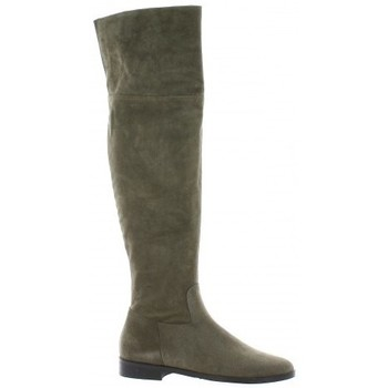 Chaussures Femme Bottes ville Pao Genouilleres cuir velours Taupe