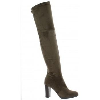 Chaussures Femme Bottes ville Pao Cuissardes stretch velours Taupe
