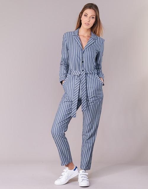 Vêtements Femme Combinaisons / Salopettes G-Star Raw DELINE JUMPSUIT WMN L/S Bleu / Blanc