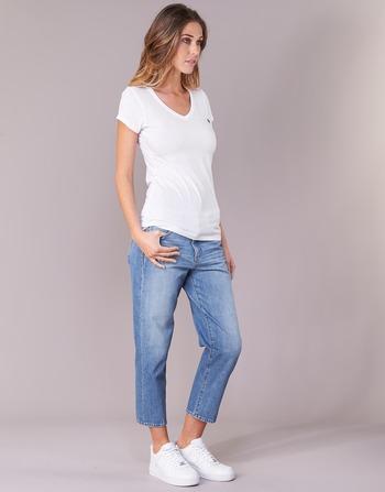 Vêtements star Eyben Slim Courtes G Manches Raw Femme Blanc V T shirts QdsrohBCtx