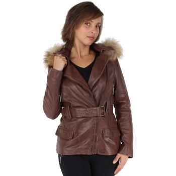 Vêtements Femme Vestes en cuir / synthétiques Pallas Cuir Blouson  Sélection Kenza en cuir ref_42172-noisette Marron