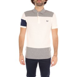 Vêtements Homme Polos manches courtes Fred Perry M2520 T-shirt Homme White/ Grey White/ Grey