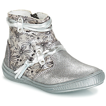 Chaussures Fille Bottes ville GBB REVA VCT GRIS ARGENT-IMPRIME DPF/SABINA