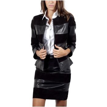 Vêtements Femme Vestes en cuir / synthétiques Giorgio Sally Noir Noir