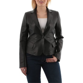 Vêtements Vestes en cuir / synthétiques Giorgio Elvina Waxy Noir Noir