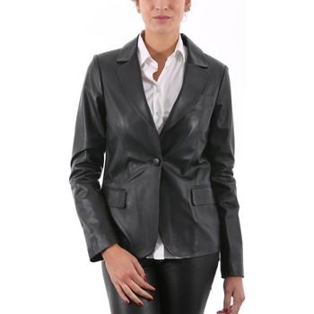 Vêtements Vestes en cuir / synthétiques Giorgio Shirley WAXY Noir Noir