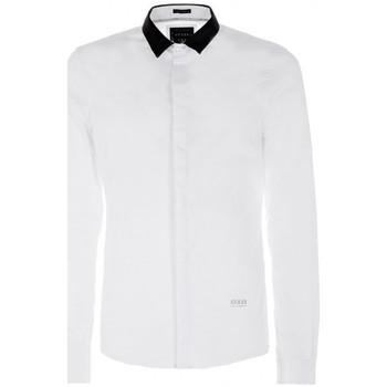 Vêtements Homme Chemises manches longues Guess Chemise LS Tape Stretch Poplin Blanc (sp) 1
