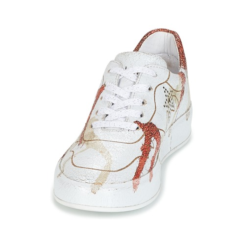 Chaussures Crasky Felmini Femme Baskets Basses BlancRouge K1JclFT