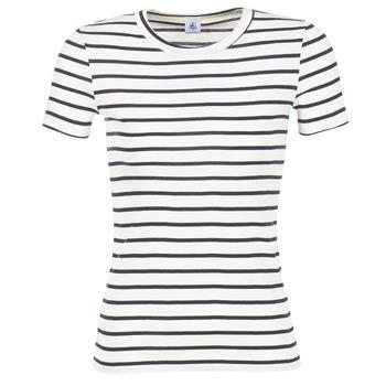 Vêtements Femme T-shirts manches courtes Petit Bateau  Blanc / Marine