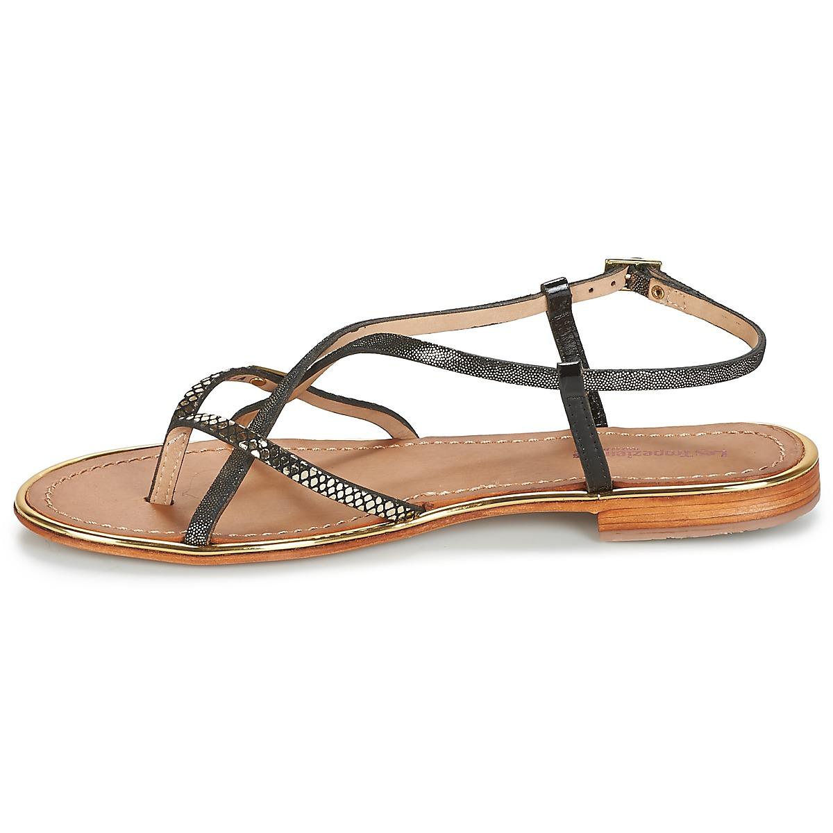 Les Tropéziennes Par M Belarbi Monaco Noir / Doré - Livraison Gratuite Chaussures Sandale Femme 65,00 €