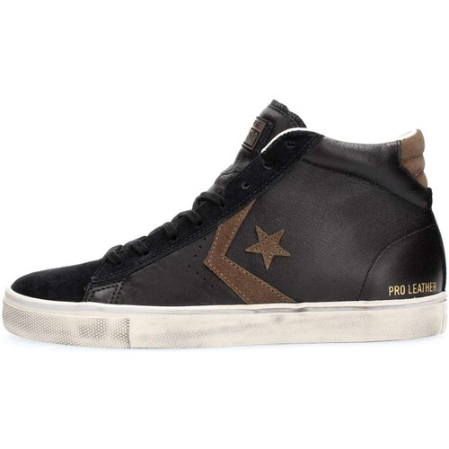 Converse 158923C PRO LEATHER VUL MID SNEAKERS Homme BLACK BLACK - Chaussures Basket montante Homme