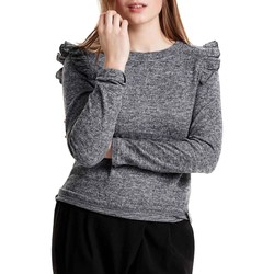 Vêtements Femme Pulls Only onlELCOS L/S FRILL SHOULDER TOP Gris