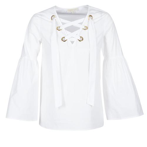 Vêtements Femme Tops / Blouses MICHAEL Michael Kors POPLIN GRMT LCE UP T. Blanc