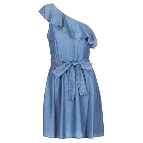 Vêtements Femme Robes courtes MICHAEL Michael Kors ONE SHLDR RUFFLE DRS Denim