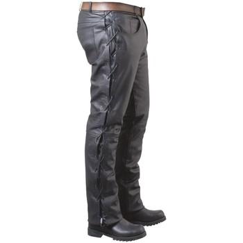 Vêtements Homme Pantalons 5 poches Pallas Cuir Pantalon en cuir avec lacets ref_pal02702-noir Noir