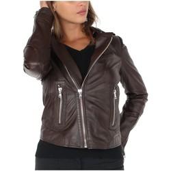 Vêtements Femme Blousons Oakwood Blouson style Perfecto  en cuir ref_cco41612-marron Marron