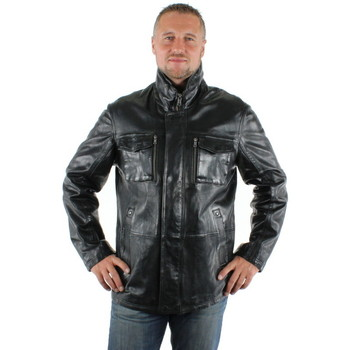 Vêtements Homme Blousons Daytona Veste en cuir agneau ref_day31725-noir noir