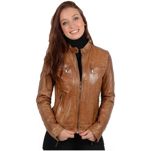 Vêtements Femme Blousons Daytona Blouson en cuir d'agneau ref_30996 Cognac marron