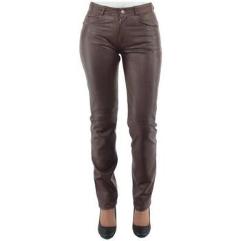Vêtements Homme Pantalons 5 poches Giorgio Cuirs Pantalon Giorgio slim wody en cuir ref_gio33425-chataigne chataigne