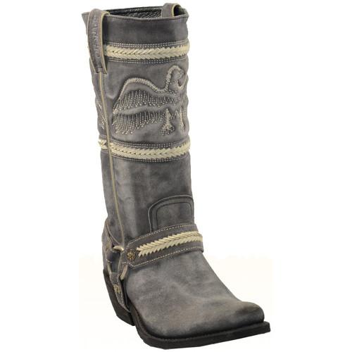 Chaussures Femme Bottes ville Sancho Boots Santiag en cuir vachette ref_san26585-gris gris