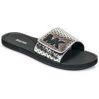 Chaussures Femme Claquettes MICHAEL Michael Kors MK SLIDE Noir / Argenté