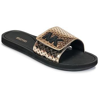 Chaussures Femme Claquettes MICHAEL Michael Kors MK SLIDE Noir / Doré