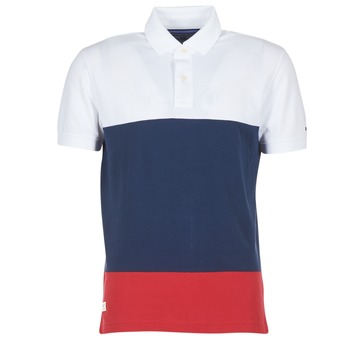 Vêtements Homme Polos manches courtes Tommy Hilfiger WCC-CALEB-COLOURBLOCK-POLO-S/S-RF Blanc / Bleu / Rouge