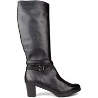 Chaussures Femme Bottes Kroc BOTTES  HAUTE CUIR BLACK
