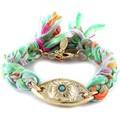 Blue Pearls Ettika - Bracelet Oeil en Or Jaune et Coton Rubans Tressés Multi