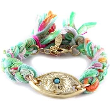 Montres & Bijoux Femme Bracelets Blue Pearls Ettika - Bracelet Oeil en Or Jaune et Coton Rubans Tressés Multi Multicolore