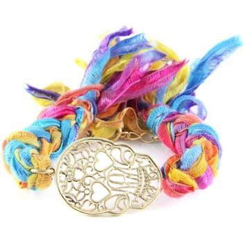 Montres & Bijoux Femme Bracelets Blue Pearls Ettika - Bracelet Tête de Mort en Or Jaune et Coton Rubans Tress Multicolore