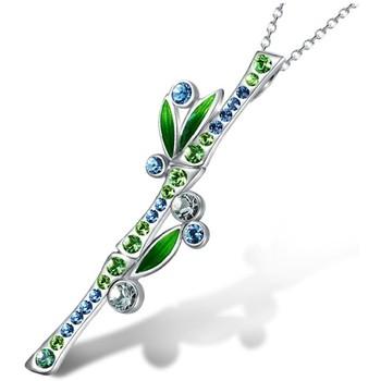 Montres & Bijoux Femme Pendentifs Blue Pearls Pendentif Bambou en Cristal de Swarovski Elements Bleu Vert Multicolore