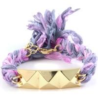 Montres & Bijoux Femme Bracelets Blue Pearls Ettika - Bracelet Pyramide en Or Jaune et Coton Rubans Tressés V Violet