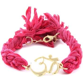 Montres & Bijoux Femme Bracelets Blue Pearls Ettika - Bracelet Om en Or Jaune et Coton Rubans Tressés Roses Rose