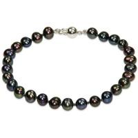 Montres & Bijoux Femme Bracelets Blue Pearls Bracelet Femme Perles de culture d'eau douce Noires et Fermoir A Multicolore