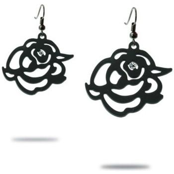 Montres & Bijoux Femme Boucles d'oreilles Blue Pearls Boucles d'Oreilles Pendantes Roses en Silicone Noir Noir