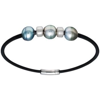Montres & Bijoux Homme Bracelets Blue Pearls Bracelet Homme Perle de Tahiti et Argent Massif 925 Multicolore