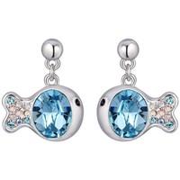 Montres & Bijoux Femme Boucles d'oreilles Blue Pearls Boucles d'oreilles Poisson en Cristal de Swarovski Element Bleu Multicolore