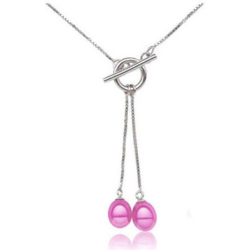 Montres & Bijoux Femme Colliers / Sautoirs Blue Pearls Collier Double Perles de Culture Rose et Argent 925 Multicolore