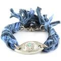 Blue Pearls Ettika - Bracelet Oeil en Argent et Coton Rubans Tressés Bleu et