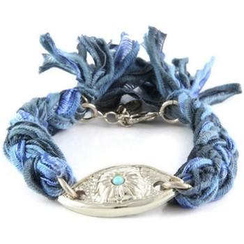 Montres & Bijoux Femme Bracelets Blue Pearls Ettika - Bracelet Oeil en Argent et Coton Rubans Tressés Bleu et Multicolore