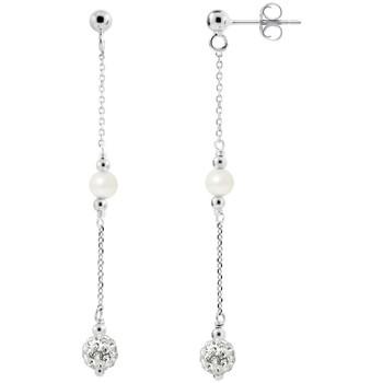 Montres & Bijoux Femme Boucles d'oreilles Blue Pearls Boucles d'Oreilles en Argent Perles de culture blanches et Crist Multicolore