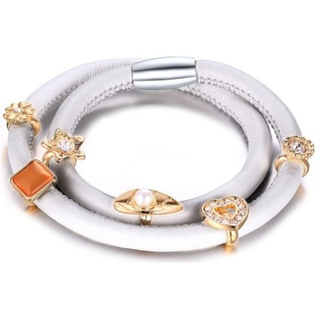 Montres & Bijoux Femme Bracelets Blue Pearls Bracelet Double Rang Charm's en Cuir Blanc et Beads Blanc