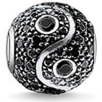 Montres & Bijoux Femme Bijoux Blue Pearls Charms Bead Yin Yang et Cristal Noir Noir