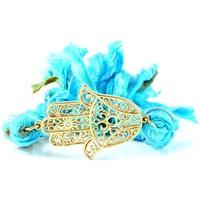 Montres & Bijoux Femme Bracelets Blue Pearls Ettika - Bracelet Hamsa en Or Jaune et Coton Rubans Tressés Bleu Multicolore