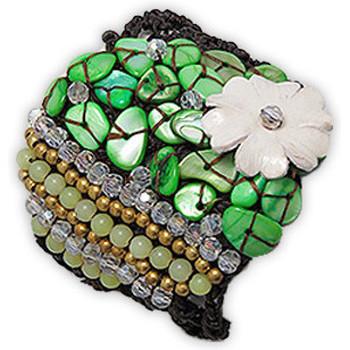 Montres & Bijoux Femme Bracelets Blue Pearls Bracelet Nacre et Jade Vert Multicolore
